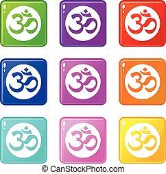 Symbol Aum set 9 - Symbol Aum icons of 9 color set isolated...