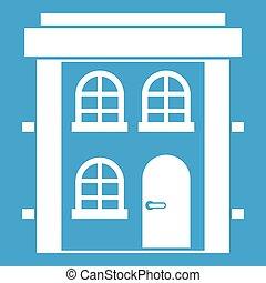 Two-storey residential house icon white