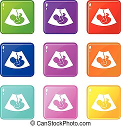 Ultrasound fetus set 9 - Ultrasound fetus icons of 9 color...