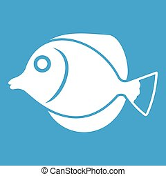 Tang fish, Zebrasoma flavescens icon white isolated on blue...
