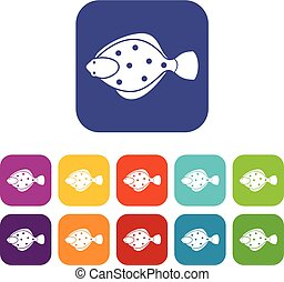 Flounder fish icons set vector illustration in flat style in...