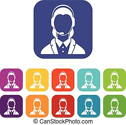 Support phone operator in headset icons set vector...