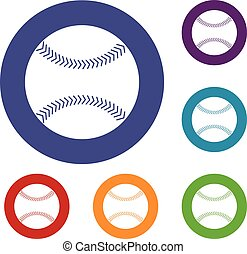 Baseball icons set in flat circle red, blue and green color...