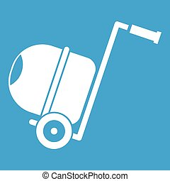 Concrete mixer icon white isolated on blue background vector...