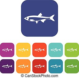 Herring fish icons set vector illustration in flat style in...