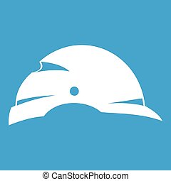 Construction helmet icon white isolated on blue background...