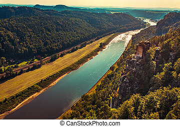 Elbe river view from mountain. Sunset light.