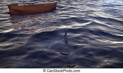 """Shark circling small boat in the ocean"""