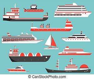 Ships Set. Oil Tanker, Yacht, Bulk Carrier, Gas Tanker and Passenger Cruise Ship.
