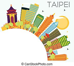 Taipei Skyline with Color Buildings, Blue Sky and Copy Space.