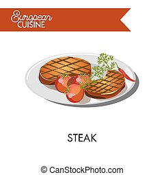 Steak with tomatoes from European cuisine isolated illustration