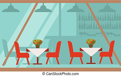 Cozy summer terrace of cafe with delicious food vector...