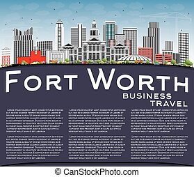 Fort Worth Skyline with Gray Buildings, Blue Sky and Copy...