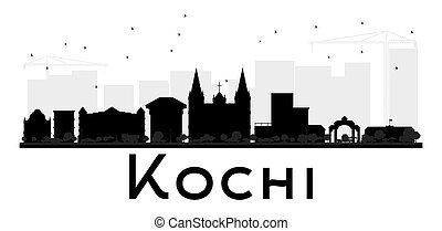 Kochi City skyline black and white silhouette. Vector...
