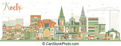 Abstract Kochi Skyline with Color Buildings. Vector...