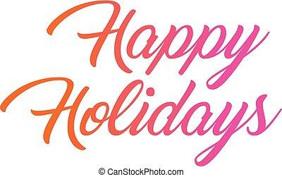 Woord, kleurrijke, helling, Vrijstaand, feestdagen,  hand, schrijvende, vrolijke