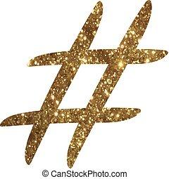 gouden, Woord, symbool, Vrijstaand,  hand,  hashtag, schrijvende, schitteren