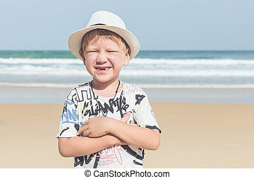 Caucasian boy from europe with happy and relax time on the...