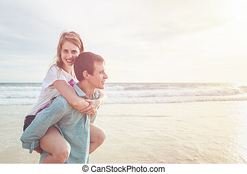 Couple people or tourist from europe with happy and relax...