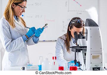 seu, trabalhando, laboratório, cientistas