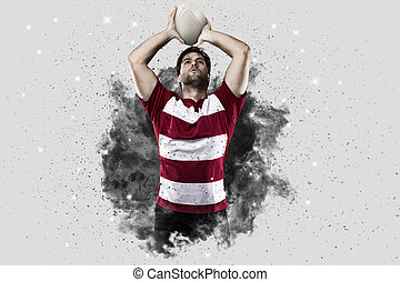 Rugby player coming out of a blast of smoke. - Rugby Player...