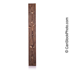 New piece long square brown pine wood. Studio shot isolated...