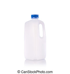 Clear blank empty milk bottle with blue cap. Studio shot isolated on white