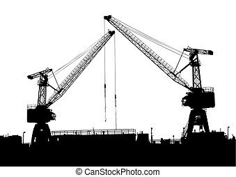 Cargo cran in seaport - Cargo cranes in the seaport on white...