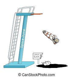 Astronaut in spacesuit, jumping from a diving board