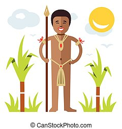 Vector African aborigine. Flat style colorful Cartoon...