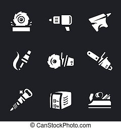 Vector Set of Work Tool Icons. - Sawmill, drill, anvil,...