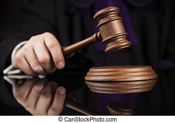 Justice and law concept. Male judge in a courtroom