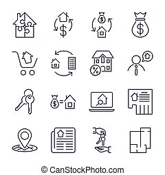 Real Estate. Set of outline vector icons. Includes such as Property, Building, Apartment and other. Editable Stroke. Icons set for app, sites, programs: real estate, home, house, ad, agent, realtor