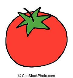 hand drawn doodle icon of tomato. vector illustration