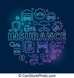 Car insurance round blue illustration