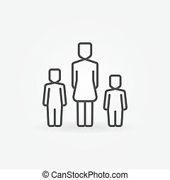 Mother with two kids icon - vector family outline sign or...