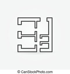 Square house plan vector icon