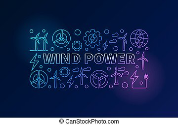 Wind power vector banner. Colorful energy concept...
