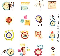Time Management Retro Cartoon Icons Set
