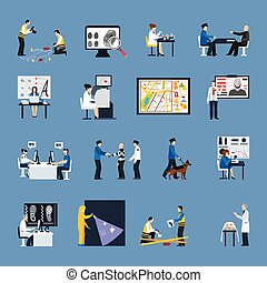 Crime Investigation Flat Icons Set - Set of flat icons with...