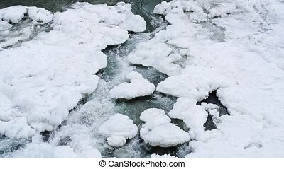 Winter landscape with mountain river running through ice -...