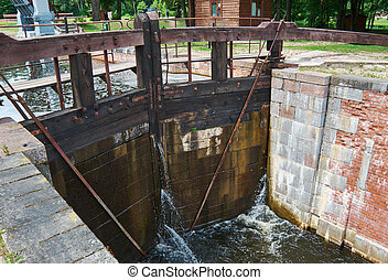 Gateways sluice (locks) on the Augustow Canal July 8, 201