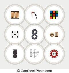 Flat Icon Entertainment Set Of Bones Game, Ace, Backgammon...