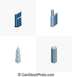 Isometric Building Set Of Exterior, Residential, Building And Other Vector Objects. Also Includes Exterior, Business, Building Elements.