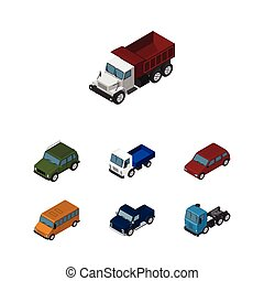 Isometric Car Set Of Car, Autobus, Lorry And Other Vector Objects. Also Includes Freight, Motor, Suv Elements.