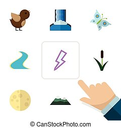 Flat Icon Bio Set Of Lightning, Bird, Peak And Other Vector Objects. Also Includes Waterfall, Reed, Grass Elements.