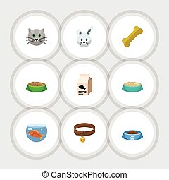 Flat Icon Pets Set Of Bunny, Hound Necklace, Rabbit Meal And Other Vector Objects. Also Includes Bird, Bone, Fishbowl Elements.