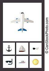 Flat Icon Beach Set Of Aircraft, Spectacles, Boat And Other Vector Objects. Also Includes Craft, Plane, Aircraft Elements.