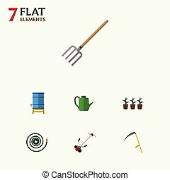 Flat Icon Garden Set Of Bailer, Hosepipe, Container And...
