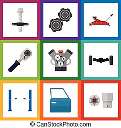 Flat Icon Service Set Of Suspension, Auto Jack, Lifting And Other Vector Objects. Also Includes Belt, Pulley, Turnscrew Elements.
